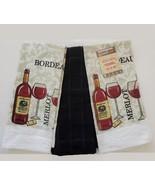 Kitchen Towels, Set of 3, Red Wine Bottle Merlot Bordeaux Design Black - $11.99