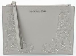 Michael Kors Aschgrau Nouveau Blumenmuster Leder Clutch Handgelenk Tasche - $141.54