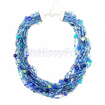 Ann Taylor Silver Tone Multi Layer Blue Bead Collar Necklace - $26.99