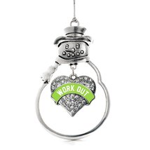 Inspired Silver Green Workout Pave Heart Snowman Holiday Ornament - $14.69