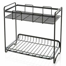 2 Tier Standing Rack Kitchen Table Bathroom Shelf Black Iron Storage Org... - £18.94 GBP