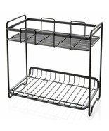 2 Tier Standing Rack Kitchen Table Bathroom Shelf Black Iron Storage Org... - $24.69