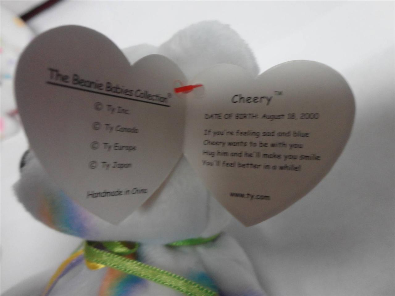 TY Beanie Baby Bears Glory 1997 Cheery 2000 and Kissme 2001 Lot of 3