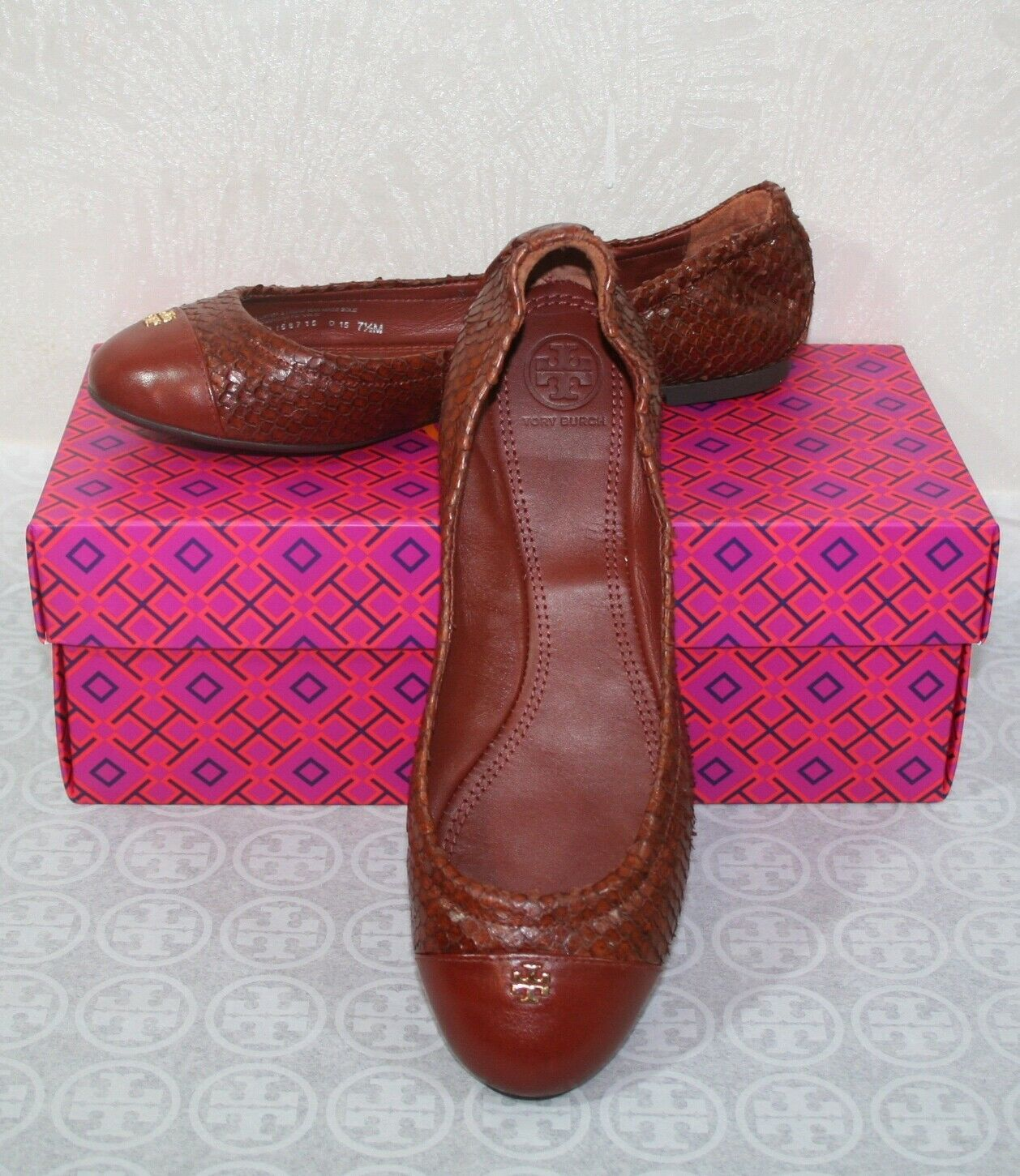 Tory Burch York Ballet-Glossy Snake Print Size 8 Brown/Cherry Almond Flats $225