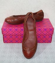 Tory Burch York Ballet-Glossy Snake Print Size 8 Brown/Cherry Almond Fla... - $138.59