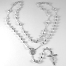 18K WHITE GOLD BIG ROSARY NECKLACE MIRACULOUS MARY MEDAL JESUS CROSS ITALY MADE