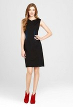 $298 Elie Tahari Henderson Black Blue Darts Shift Sleeveless Dress 8 - $107.99