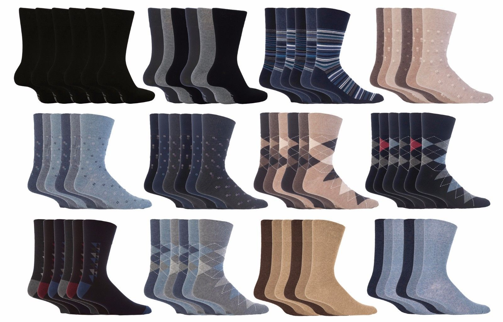 Gentle Grip - 6 Pack Mens Non Binding Cotton Diabetic BIGFOOT Socks 13-15 US