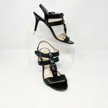 COACH Womens ROBIN Black Veg Leather Ankle Strap Heels Sandals Size 8 - $43.51