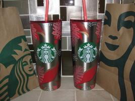 NEW Starbucks 2019 Christmas Tumbler 24 oz set of 2 JUST RELEASED HARD T... - $94.99