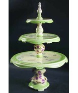 Tracy Porter Vintage Evelyn Patten Design 3 Tiered Dessert Tray Cake Dis... - $296.99