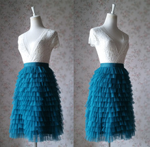 DEEP GREEN High Waist Knee Length Tiered Tulle Skirt Wedding Party Tulle Skirts - $59.99