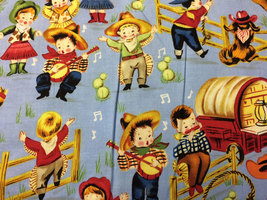 Cowboys and Cowgirls Print 100% Cotton Fabric - $10.00
