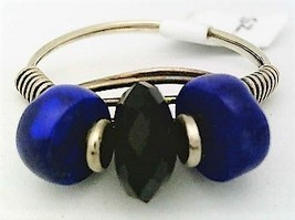 Lapis Black Onyx Gemstone Bead Silver Wire Wrap Ring sz 9  - $12.27