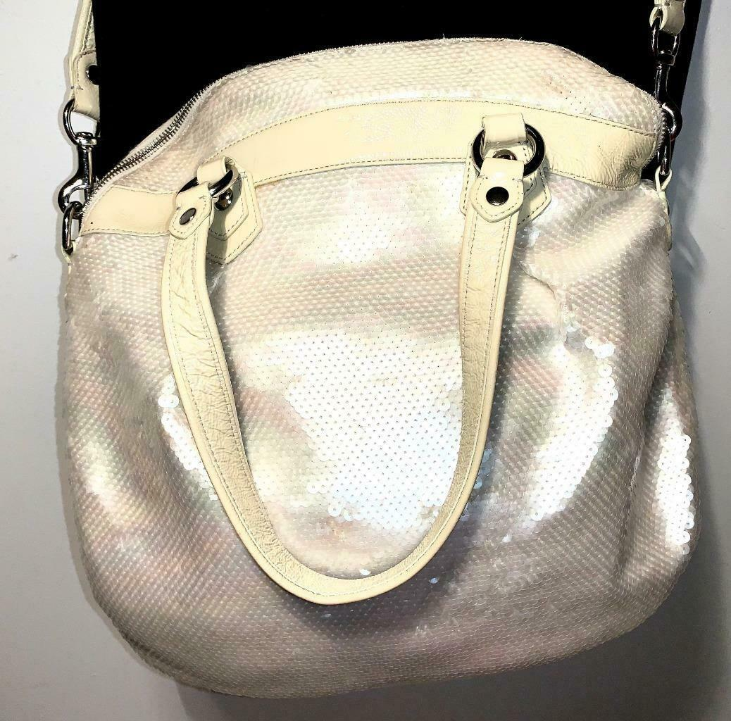 Coach Poppy ~ Pearl Opal Sequins Large Highlight Bag Tote ~ Patent Leather Trim
