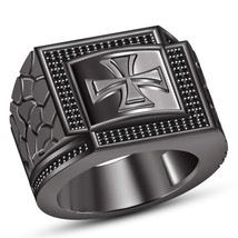 Black Gold Finish 925 Silver Round Cut CZ Men's Band Biker Cross Wedding... - $155.99