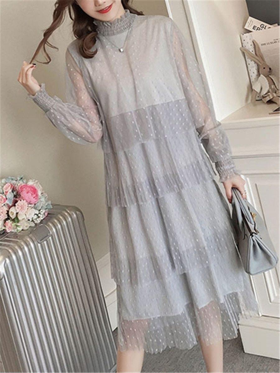 Maternity Dress Long Sleeve Fashionable Layered Dress image 4