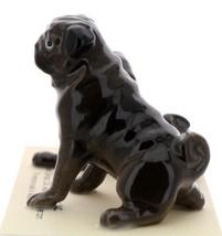 Hagen-Renaker Miniature Ceramic Dog Figurine Pug Black Mama Sitting and Baby Pup image 7