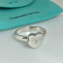 Tiffany & Co Sterling Silver Diamond Paloma Picasso Modern Heart Ring Si... - $249.00