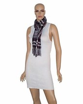 Charter Club Women's Wrap Scarf Black with White and Red Checkered Rayon... - ₨3,351.59 INR
