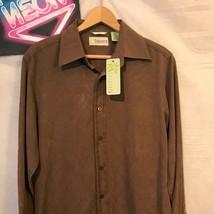 NWT Cubavera Men's Brown Button Front Silk Blend Shirt Sz S A2374 - $32.62