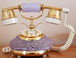 Vintage Collectible Tang Retro BL206 Lavender Gold Touch Dial Table Tele... - $89.09