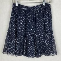 Kate Spade Women Size 6 New York Night Sky Lurex Dot Silk Skirt Blue Silver - $98.01