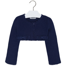 Mayoral Little Girl Lace-knit Border Double Bow Knit Cardigan Sweater