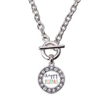 Inspired Silver Happy Festivus Circle Charm Toggle Necklace Clear Crysta... - $13.71