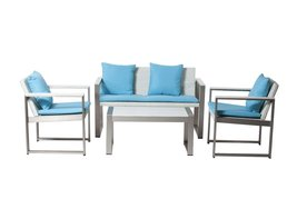 Outdoor Lounge Set In White-Turquoise (Set of 4) - €1.257,27 EUR