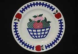 "Classic Style 10-1/2"" Dinner Plate w Basket full of Red Green Apples Blu... - $16.82"