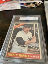 1966 topps baseball  card - #50 mickey mantle - new  york yankee - $169.00
