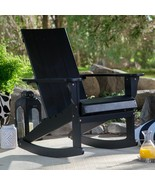 Bayside Cottage Black Adirondack Style Rocking Chair Outdoor Patio Porch... - $214.46
