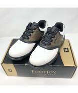 FootJoy Men Size 9 GreenJoys Spike Golf Shoes White Brown Black 45516 - $29.69