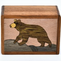Northwoods Wooden Parquetry Black Bear Country Rustic Cabin Mini Trinket Box image 2