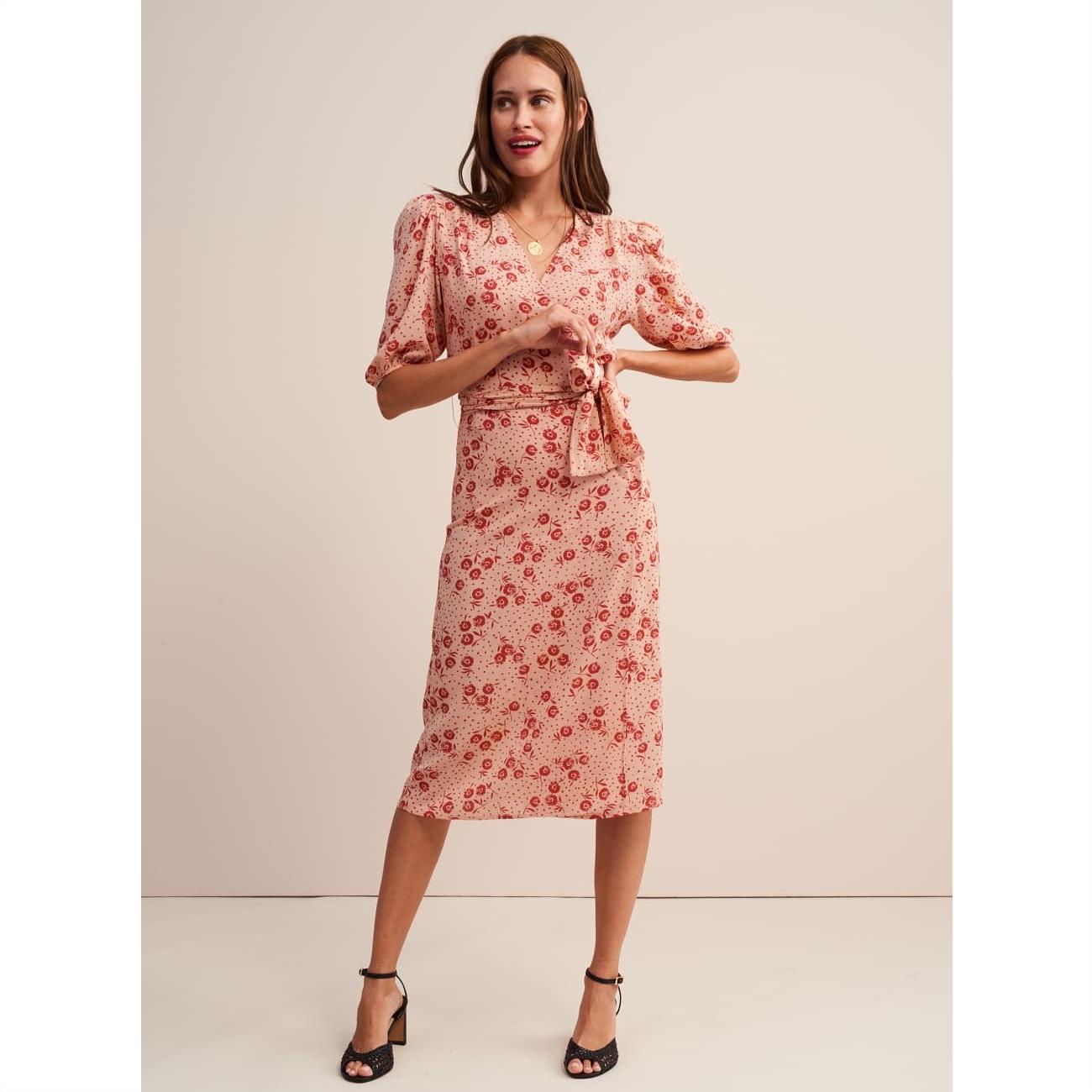 Rouje pink robe rosalie wrap dress 1