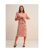 Rouje Pink Robe ROSALIE Flower Printed Wrap Midi Dress Tea Dress - $159.00