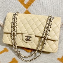 SALE* AUTHENTIC Chanel Quilted Lambskin Classic Medium Beige Double Flap Bag SHW