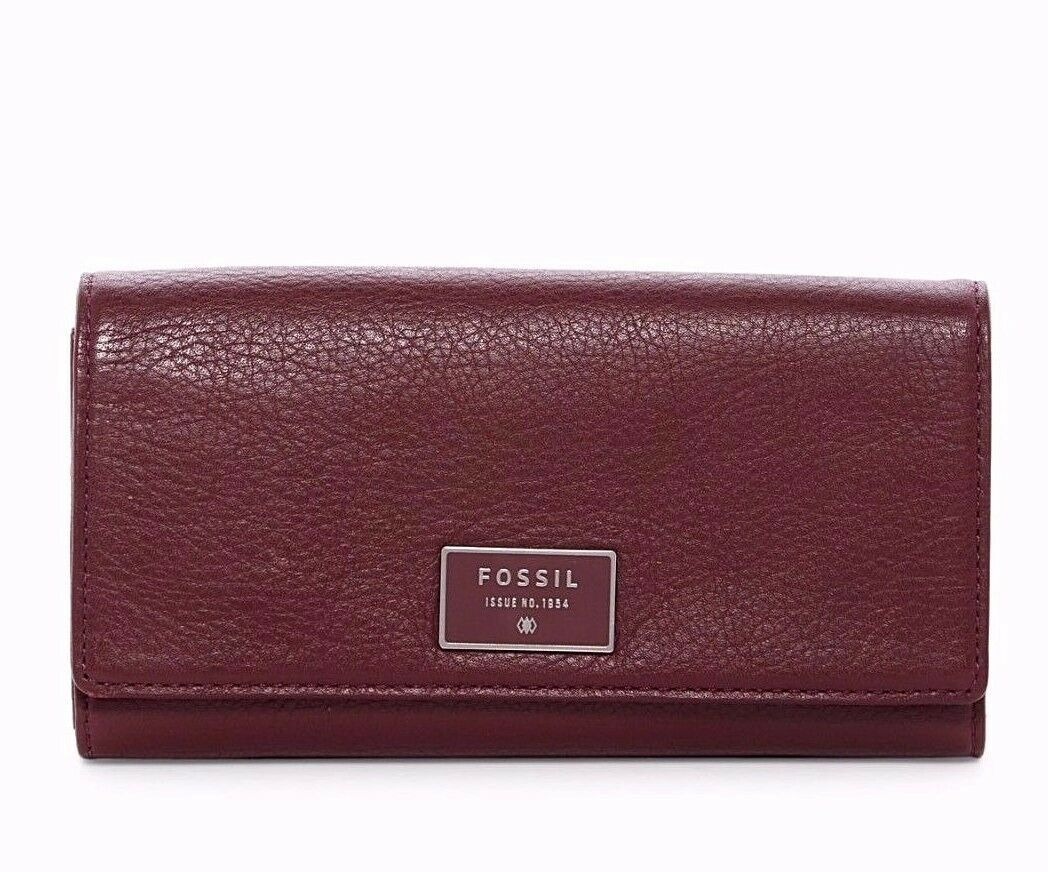 New Fossil Dawson Women Flap Leather Clutch Variety Color image 3