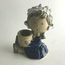 "Vintage Ceramic Girl Holding Pot Vase Figurine Tall 4.5""X3.5""X2.5"" - $10.89"