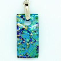 Blue White Green Handmade Square Rectangular Murano Glass Keyring from V... - $13.19