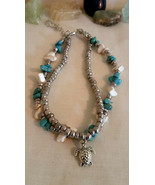 Boho Ankle Bracelet with White & Turquoise color Howlite Beads Gift ideal - $12.86