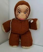 Vtg Plush Monkigund Monkey Monki Gund Stuffed Monkey Plastic Face Antiqu... - $9.49