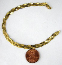 Italian Bracelet Sterling Silver Gold Vermeil Braided Chain 1980s Italy Fashion  - $44.00