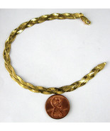 Italian Bracelet Sterling Silver Gold Vermeil Braided Chain 1980s Italy ... - $44.00