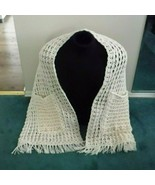 Crochet Pocket Shawl off white / beige handmade - $43.07