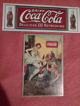 Coca Cola Metal Signs -1990 Clown, Ballerina, Boy, Dog &1 Delicious & Re... - $29.97