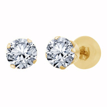 18K Yellow Gold Fn 1.00 CTW Round Cut Diamond Solitaire Screw Back Stud ... - $47.00