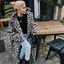 Luxury Fashion Leopard Long Thick  Faux Fur Teddy Bear Coat