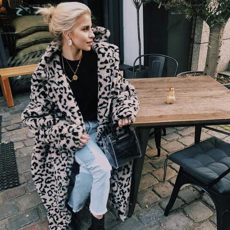 Shion leopard long teddy bear jackets coats women 2020 winter thick warm outerwear brand fashion